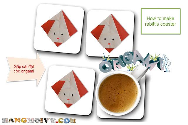 Hướng dẫn cách gấp, xếp miếng giấy đặt cốc hình con thỏ Origami - How to make Rabbit's Coaster
