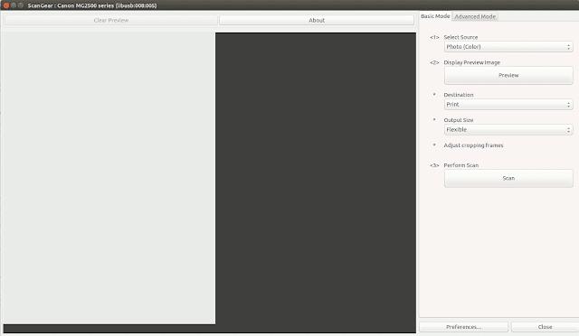 UI Aplikasi Scanner Canon di Ubuntu
