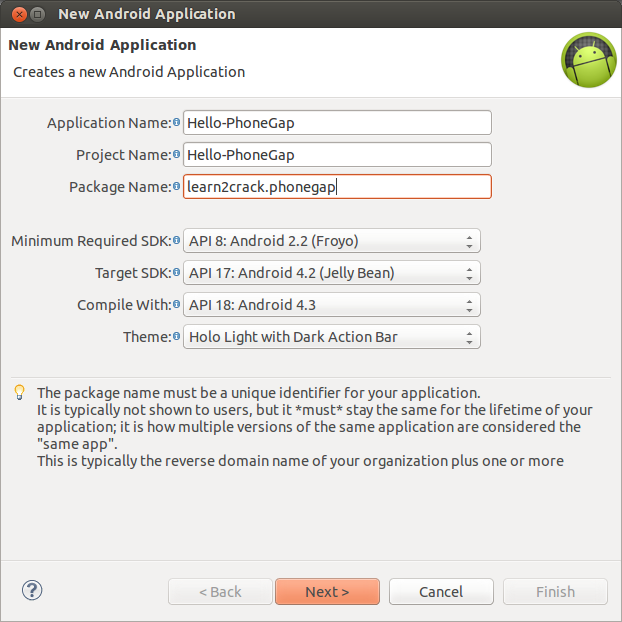 how to develop phonegap application in eclipse