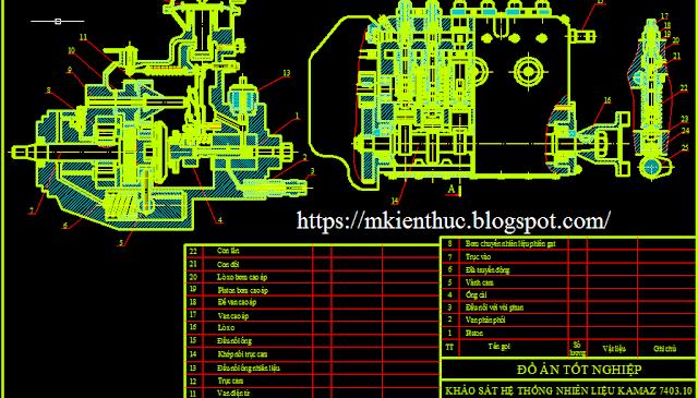 Bản vẽ đồ án hệ thống cung cấp nhiên liệu của động cơ KAMAZ: