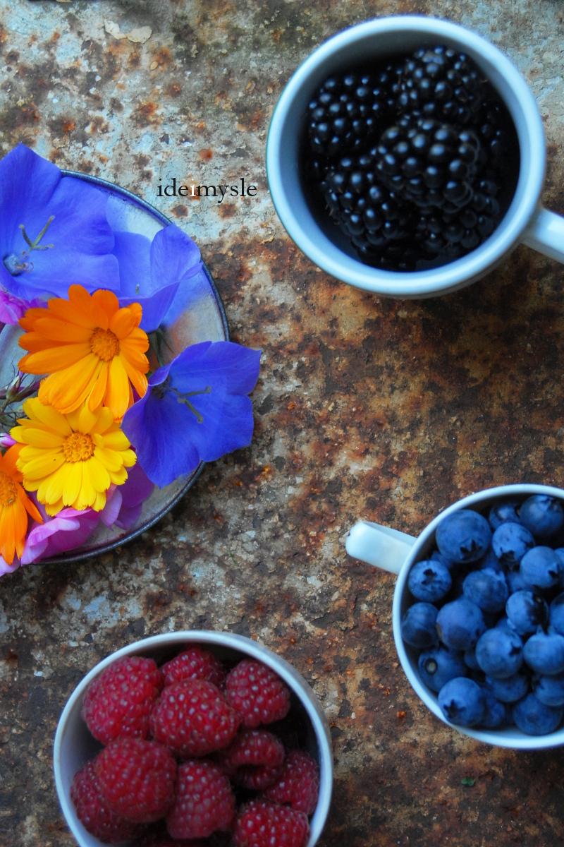 sałatka z jeżynami, letnia sałatka, jadalne kwiaty, jadalne floksy, przepis z kwiatami dzwonka, jadalny dzwonek brzoskwiniolistny, edible flowers, edible phlox, bellflower recipe