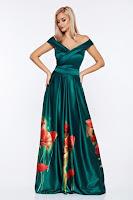 Rochie Artista verde de ocazie din material satinat cu imprimeuri florale • Artista