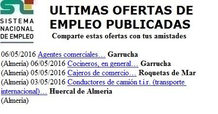 Garrucha, Roquetas de Mar-Huercal de Almería. Lanzadera de Empleo Virtual. Sistema Nacional de Empleo