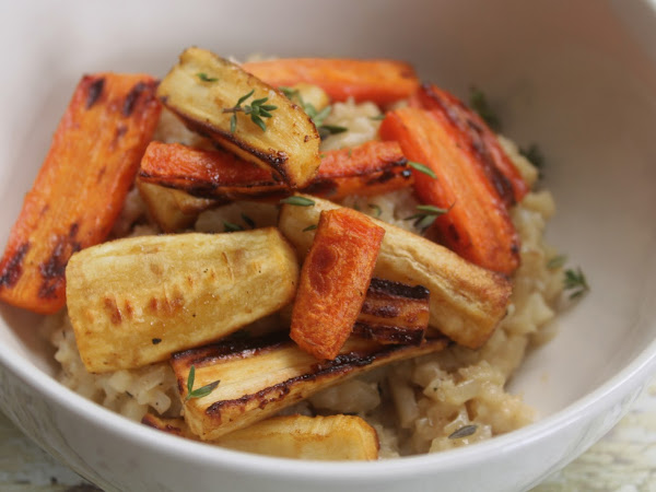 Fake rice is just as good as real rice!  (Cauliflower Risotto and Roasted Root Vegetables)