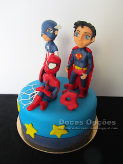 spider man, superman, america cake birthday