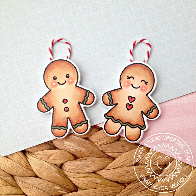 Sunny Studio Stamps: Jolly Gingerbread Christmas Card and Ornament Set by Franci Vignoli