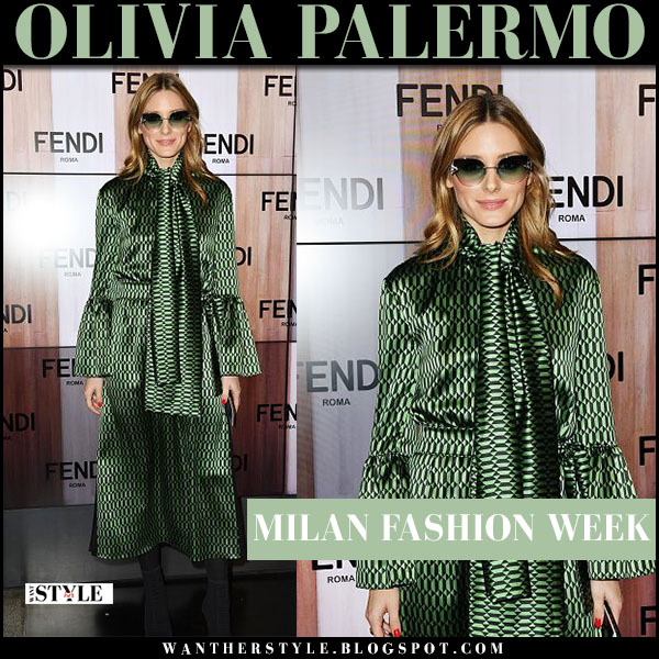Olivia Palermo in green silk dress with green sunglasses Fendi milan fashion week outfit front row 2017