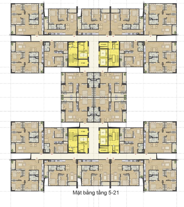 mặt bằng tầng 4 căn hộ hud3 nguyễn đức cảnh