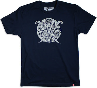 The Vacvvm Logo Crest Navy T-Shirt by Aaron Horkey