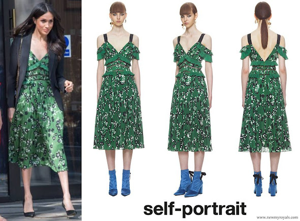 Meghan Markle wore Self-Portrait Cold shoulder floral printed dress