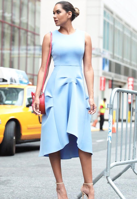 dawilda gonzalez nyfw15 ootd lady like blue dress