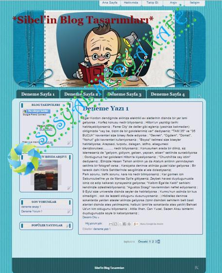Kitaplı Erkek Blog Tasarım Mavi - Blogger Tasarım