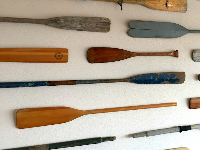 Oar wall- perfect for a home by the water.