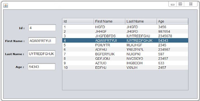 display jtable selected row values into jtextfields in java