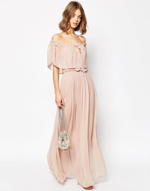 asos blush maxi dress, blush off shoulder dress, tiered maxi dress,