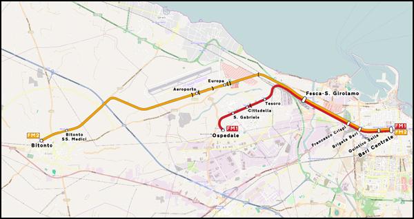Plan du train pour l'aéroport à Bari