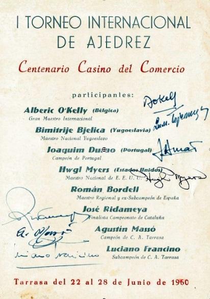 Programa con las firmas de los jugadores del I Torneo Internacional de Terrassa 1960