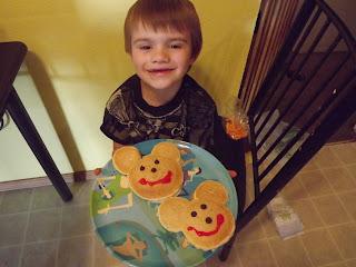 putting smiles on mickey mouse pancakes