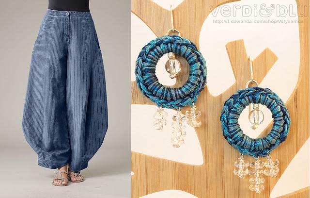 orecchini crochet seta blu cristallo di rocca