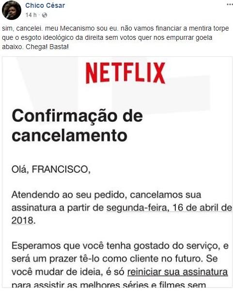 Resultado de imagem para Chico Cezar cancela Netflix