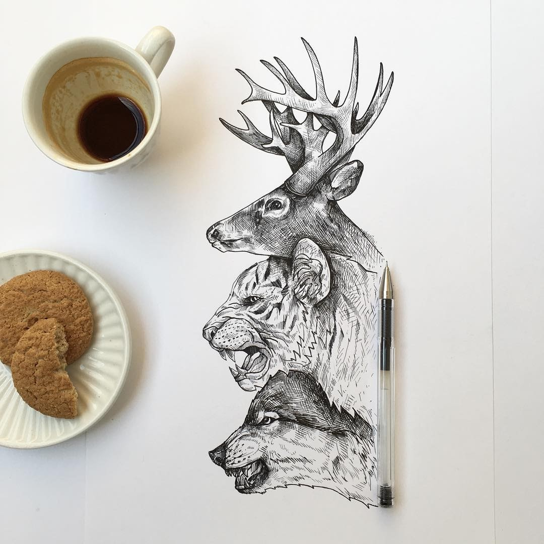 09-Coffee-break-Alfred-Basha-Diverse-Black-and-White-Surreal-Drawings-www-designstack-co