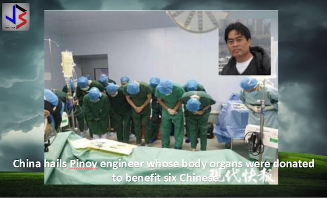 OFW donates body organs in China. There's a Filipino engineer based in China who instructed his family members that he wants his body organs donated in the event something happens to him --- like an unexpected death. Little did he know he would become the first foreigner to donate body organs in Taizhou City, East China's Jiangsu Province. It's not everyday that we hear of fellow Filipinos who have willingly expressed to have their body parts donated upon their demise. Pinoy organs donors are not that many as yet. However, there's a Filipino engineer based in China who instructed his family members that he wants his body organs donated in the event something happens to him --- like an unexpected death. Abear Wilbert, an overseas worker from the Philippines, suffered from cerebral hemorrhage after he lapsed into a deep coma on an expressway on July 6. His wife Mrs. Wang immediately called the local police for help and he was rushed to the Taizhou City People's Hospital. Despite surgeries to remove blood and lumps in his skull, he was declared brain dead on July 17 --- much to the grief of his family. It was a battle fought and lost. Little did he know he would become the first foreigner to donate body organs in Taizhou City, East China's Jiangsu Province. It was so admirable that doctors paid tribute to him as per a released video by a local Chinese media. It was his wish beforehand to donate his body organs to whoever needs those and his family have acquisced to this. His Chinese wife disclosed that they met in Guangzhou and were blessed with two daughters. They decided to settle in Wuxi where Wilbert worked as a Senior Test Engineer in the city. He belonged to the Wuxi Catholic Community and was a guitarist in church, according to CRI Filipino Service. It was Wang's decision to donate her husband's kidneys, pair of corneas, liver as well as his heart -- which will benefit six Chinese patients, as per reports. It was an act praised by the Red Cross as it showed a hu