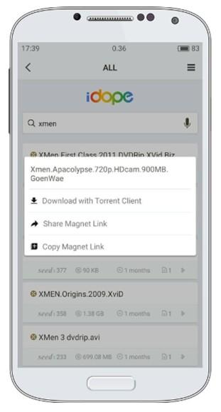 iDope Torrent Search Engine; app per cercare e individuare i torrent su Android.