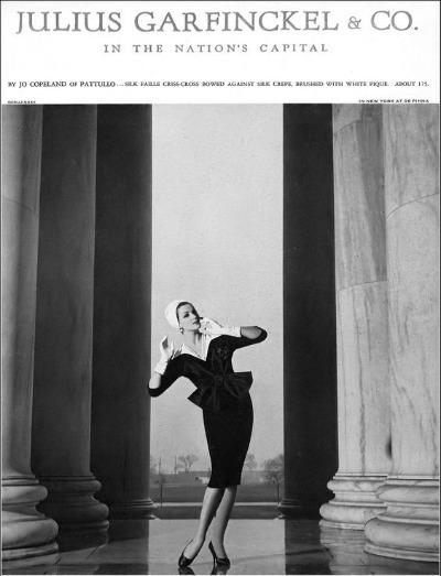 Betsy Pickering in silk faille dress with white piqué accent by Jo Copeland, Photo by Gleb Derujinsky, Harper's Bazaar, February 1959
