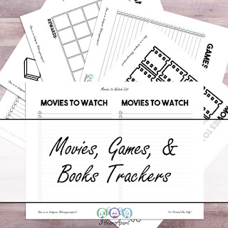 3 Years Apart Movie, Book, Game Trackers Free Printable