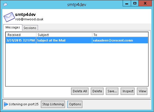 smtp4dev sharepoint