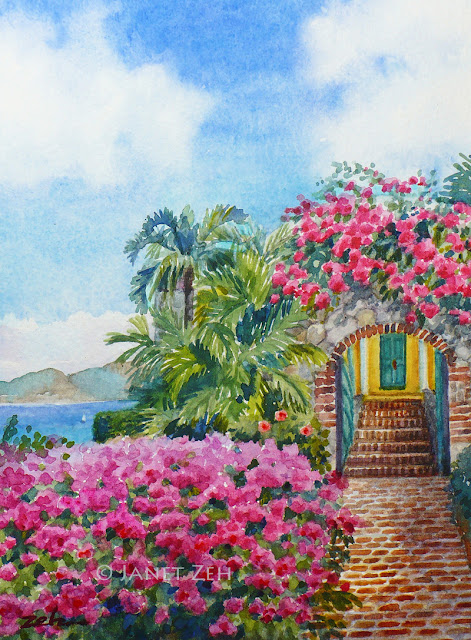 painting of a house along the coast with a bougainvilla-covered arbor
