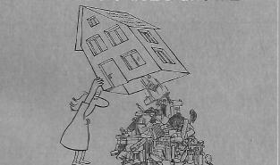 Desenho de uma pessoa sacudindo a casa para destralhar