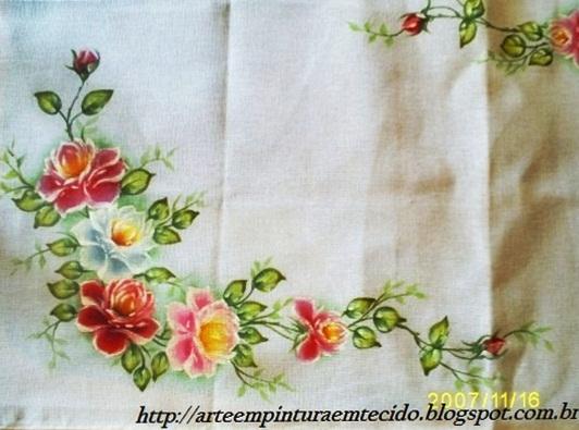 Pintura em tecido rosas caminho de mesa