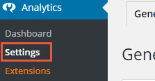 analytics dash board setting