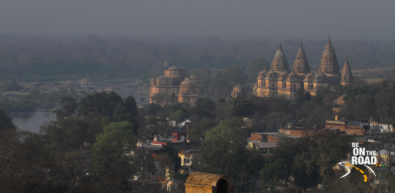 Sunrise shot of the Royal Chhatris of Orchha from the top of Jehangir Mahal