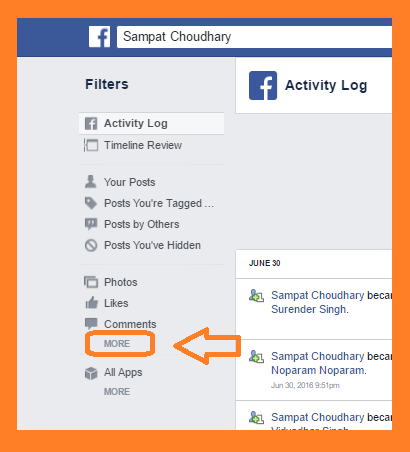 Facebook activity log screen