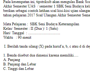 Soal-Ujian-Ulangan-UAS-SBK-Seni-Budaya-kelas-II-2-SD-semester-1