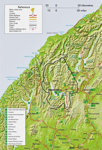 Mapa da região de Queenstown - Nova Zelândia
