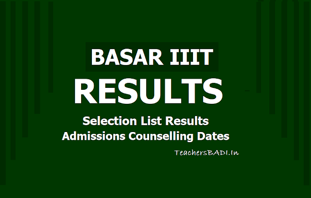 BASAR IIIT Results, Selection list, IIIT Admissions counselling dates to be announced on June 15!