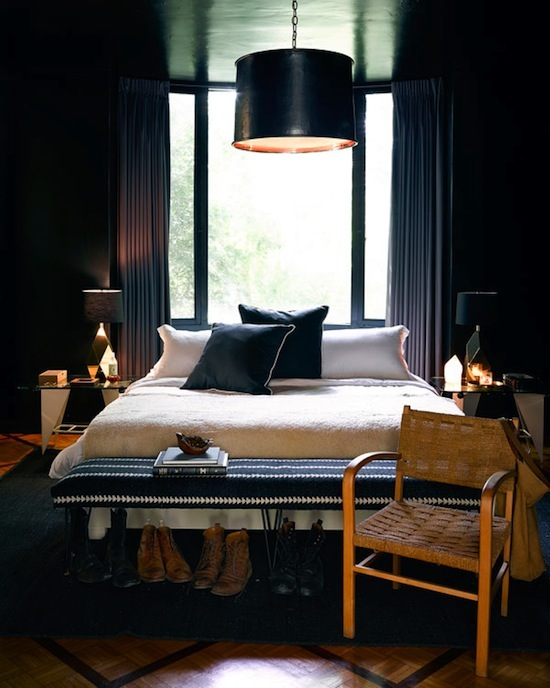 high gloss black painted bedroom, boho-luxe