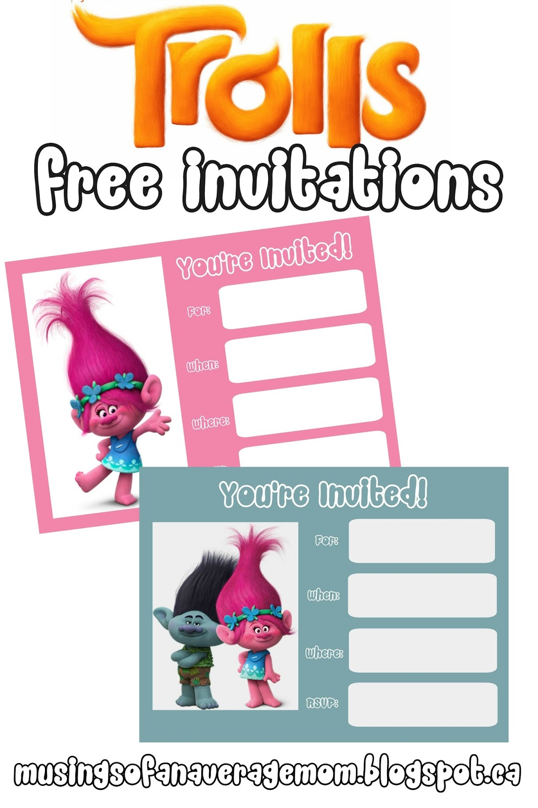 picture relating to Printable Trolls Invitations identified as Musings of an Normal Mother: Every little thing Your self Have to have for a Trolls