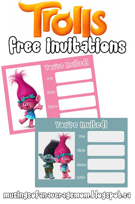 free printable trolls invitations
