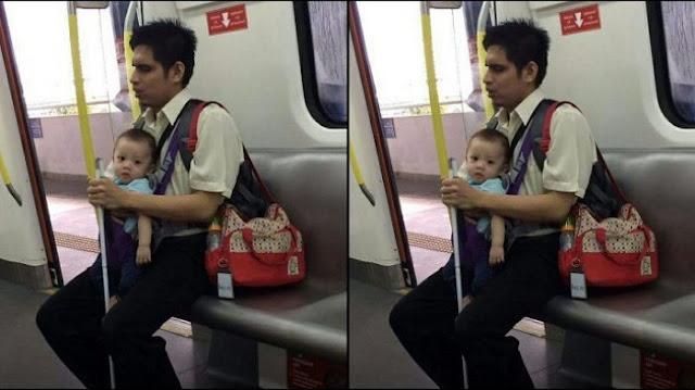 Pria Buta Yang Sendirian Gendong Anaknya Di Dalam Kereta Ini Membuat Netizen Terharu