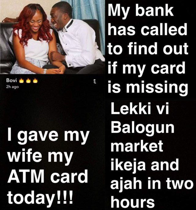 Bovi gives personal debit card to his wife and this happens