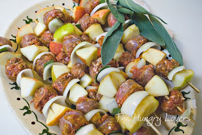 Sausage & Apple Skewers with Honey-Mustard Glaze