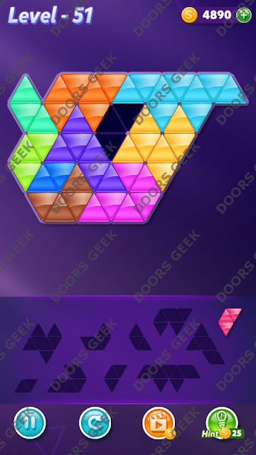 Block! Triangle Puzzle 10 Mania Level 51 Solution, Cheats, Walkthrough for Android, iPhone, iPad and iPod