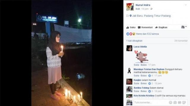 Terbongkar, Nurul Indra, Ahoker Berhijab Yang Bakar Lilin Di Padang Ternyata Non Muslim, Ini Buktinya