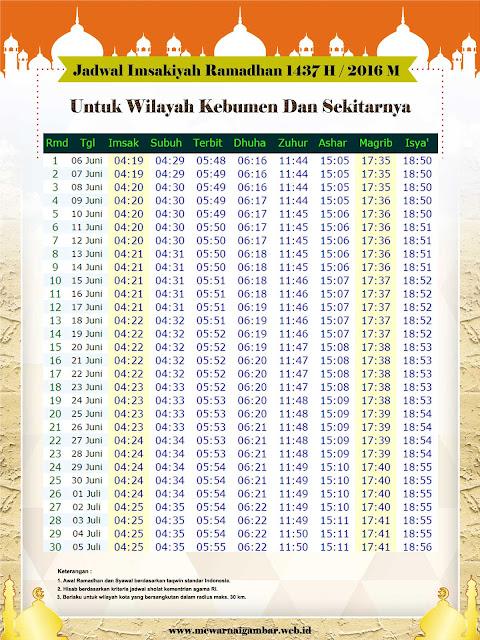 Jadwal Imsakiyah Kebumen 2016 M 1437 H