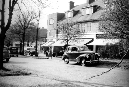 Photograph of Bradmore Green shops, Brookmans Park in the 1950s - Image from B.H. Warne