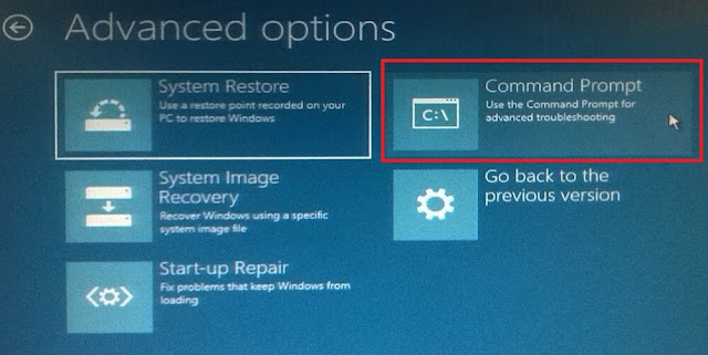 Advanced option windows command prompt